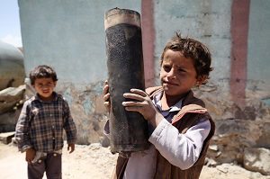 On 23 April, a boy holds a large piece of exploded artillery shell, which landed in the area during a blast, in the village of Al Mahjar, a suburb of Sana'a, the capital. Another boy stands nearby. By 12 May 2015 in Yemen, escalating conflict continued to exact a heavy toll on children and their families. Some 300,000 people have been internally displaced. Casualties have reached 1,527, including 115 children, and 6,266 people have been injured, including 172 children. Prior to the current crisis, 15.9 million people – including 7.9 million children – were already in need of humanitarian assistance. Despite the challenging operating conditions, UNICEF is scaling up its humanitarian response, including in the areas of nutrition, water, sanitation and hygiene (WASH), health, child protection and education. Support since the start of the current conflict has included providing access to clean water to 604,360 people and access to antenatal, delivery and postnatal care to 3,386 pregnant women; distributing hygiene kits to 16,662 families; and sharing educational messaging on health, hygiene and protection to 38,000 people. UNICEF has appealed for US$88.1 million to cover these and other responses through December 2015; 87 per cent remains unfunded to date.